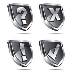 Four silver shields with four symbols vector
