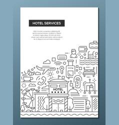 hotel services - line design brochure poster vector image