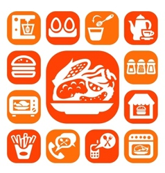 Color food and kitchen icons vector