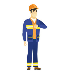Disappointed asian builder with thumb down vector