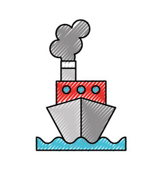 scribble ship cartoon vector image