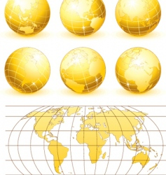 Golden globes set vector
