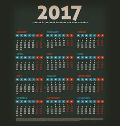 2017 design calendar on black background vector image