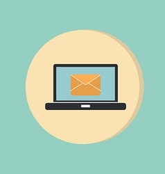 laptop with letter envelope mail icon vector image