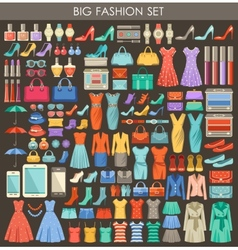 Big fashion set in a style flat design vector image