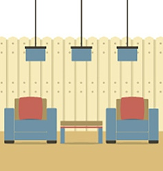 Empty two sofas with ceiling lamps vector