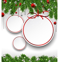 Christmas background with fir branches and balls vector