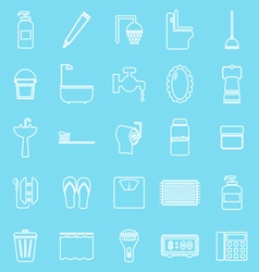 Bathroom line icons on light blue background vector