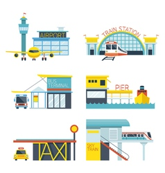 Mode of transport icons objects vector