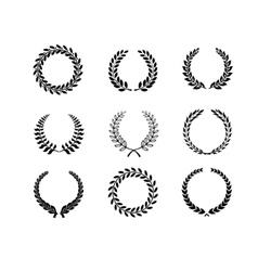 Set silhouette circular laurel foliate and wheat vector image