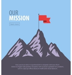 Flat flag on mountain success vector