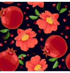Pomegranate and flowers seamless pattern vector