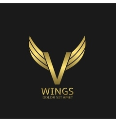 Golden v letter logo vector