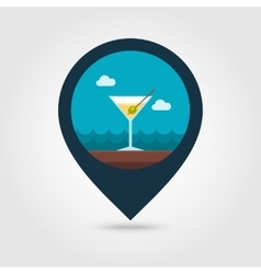 Martini cocktail pin map icon summer vacation vector