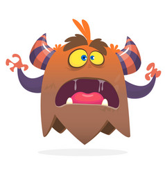 angry cartoon monster screanimg vector image vector image