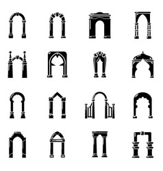 arch types icons set simple style vector image vector image