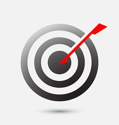 Arrow hit bulls eye on target - business goal vector