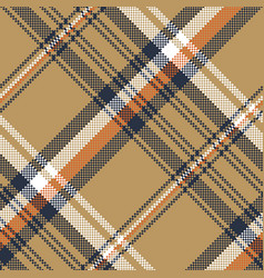 Beige check plaid tartan pixel seamless pattern vector