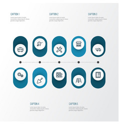 Building outline icons set collection of tipper vector
