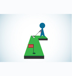 Businessman putting golf ball into hole vector
