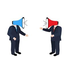 Businessmen shouting through megaphone vector image