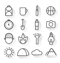 Camping monochrome linear icons set vector