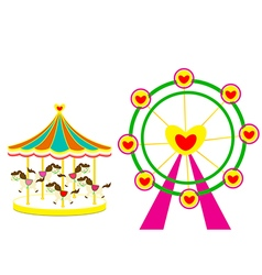 Carousel horse and ferris wheel of love vector