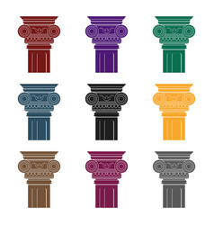 column icon in black style isolated on white vector image