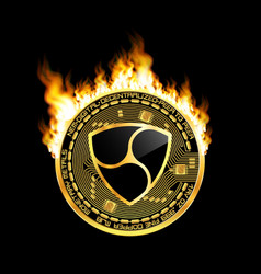 crypto currency nem golden symbol on fire vector image vector image
