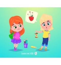 Cute girls with apples back to school vector