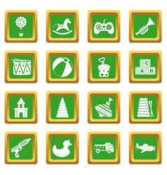 Different kids toys icons set green vector