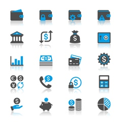 Financial management flat with reflection icons vector image vector image