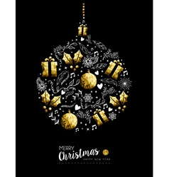 Gold Christmas and New Year bauble decoration vector image vector image