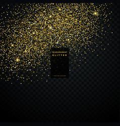Golden glitter particle dust transparent vector