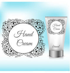 hand cream packaging with hydrangea wreath vector image vector image