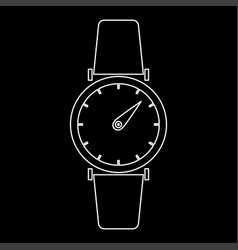 Hand watch the white path icon vector
