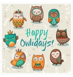 Happy owlidays card with owls vector image vector image