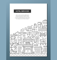 Hotel services - line design brochure poster vector