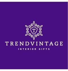 Letter t monogram pattern trendy vintage logos vector
