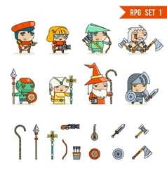 Rpg game fantasy character icons set vector