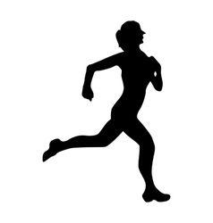 Running silhouette black vector image vector image