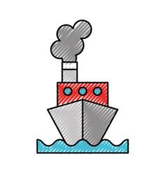 scribble ship cartoon vector image