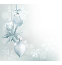 silver blue snowflake christmas bauble background vector image vector image