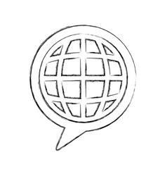 Speech bubble message with planet vector