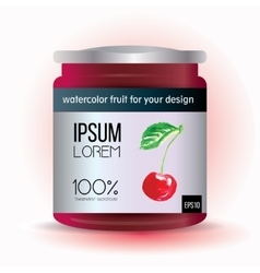 Template label design with cherry for fruit jam vector