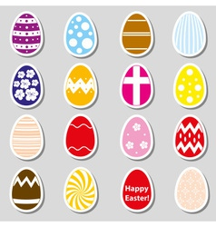 various color Easter eggs stickers collection vector image vector image