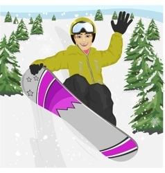 young man jumping with snowboard at ski resort vector image