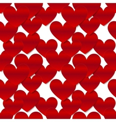 Red glossy paper hearts at white background vector image