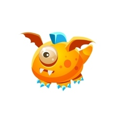 Orange fantastic friendly pet dragon with one eye vector