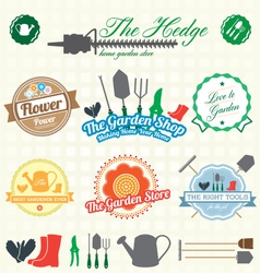 Retro garden shop labels and icons vector